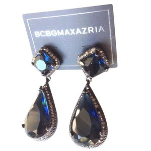 BCBG EARRINGS FAUX DIAMOND DARK COBALT TEAR DROP